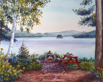 Custom commission watercolor landscape lake painting from photo, wedding birthday anniversary gift, nature artwork by Janet Zeh Original Art