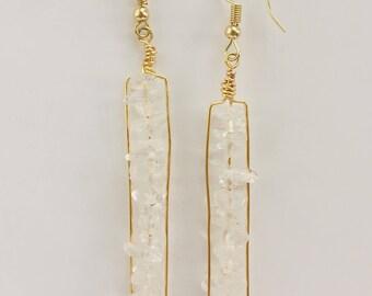 Crystal Quartz Matchstick Earrings, Crystal Healing Jewelry, Crystal Healing Earrings