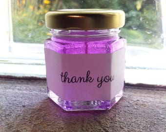 Mini Thank You Gift Personalized Candle Purple Cute Appreciation Gift Sweet Sixteen Sparkle Favors Hexagon Decor Glitter Candle Gel