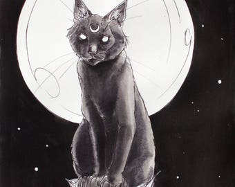 Black Cat and the Moon Fine Art Print