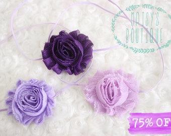 Set of 3 Purple Lavender Shabby Flower Headband Set/ Shabby Flower Headband/ Newborn Headband/ Baby Headband/ Wedding/ Photo Prop