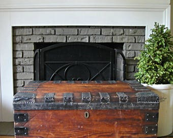 1890u0027s Scottish Trunk Flat Top Steamer Trunk Antique Trunk Chest Vintage  Chest Coffee Table Treasure Chest