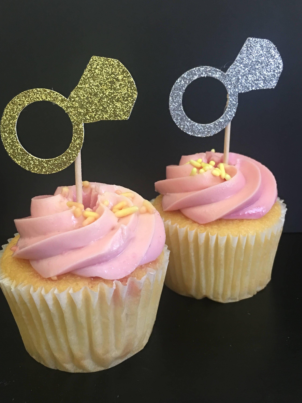 gold silver glitter diamond cupcake topper cupcake decor cake decor cake topper
