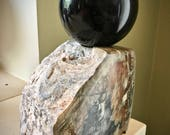 Awesome Bullseye Rainbow Obsidian Sphere on Picasso Marble Stand