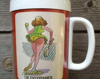 Vintage Thermo-Serv Ladies Tennis Mug - 1982 10oz. Thermal Beverage Cup - Women's Racket Sport Humor Beverage Ware