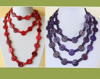Coco Wood Necklace Extra Long Lariat Coconut Beads Necklace VARIOUS Colours MapenziGems