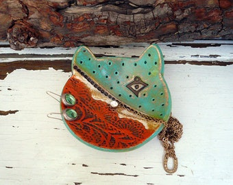 Lace Cat Ring Dish With Evil Eye Protection, Handmade Ceramic Cat Bowl, Pottery Cat Protection Jewelry Dish, Ready to Ship.