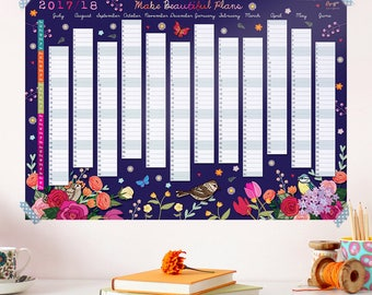 OFFER - 2017 to 2018 Wall Planner Calendar - Split Year Wall Planner - Floral Wall Planner - Wall Calendar - Calendar for a Gardener