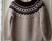 ON SALE Children's Vintage Handknit Fair Isle Sweater / Brown and Beige Knit Pullover / Size 4T to 6