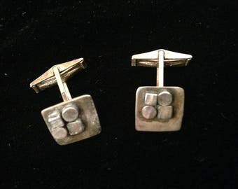 Vintage MCM Sterling Silver Abstract/Retro Cufflinks Mid Century Modern