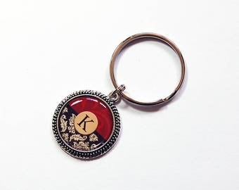 Monogram keychain, Custom key ring, keychain, Monogram key ring, keyring, stocking stuffer, gift under 10, Red, Black, Damask (7826)