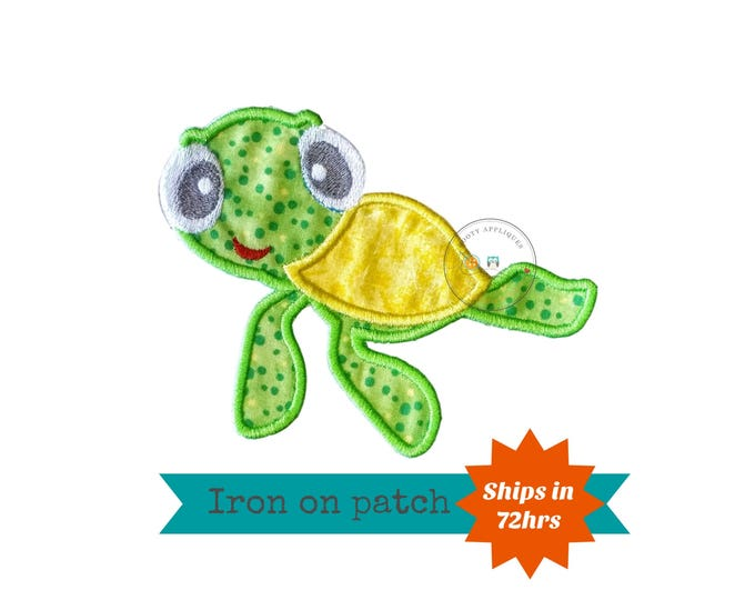Summer sea turtle in bright green and yellow iron on applique, beach summer no sew patch ready to ship
