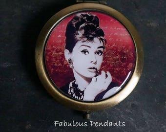 Compact Mirror Purse Mirror Pocket Mirror Handbag Mirror Audrey Hepburn Bridesmaids Gift Platinum Bronze