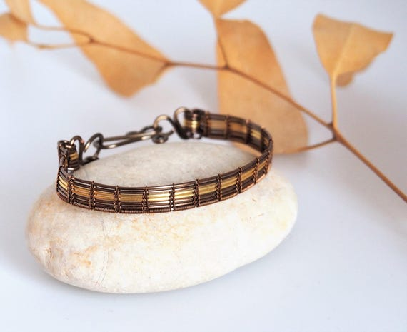 Wire wrapped bangle bracelet cuff gold bronze antiqued brass gift for women mother woven jewelry anniversary gift retro vintage bracelets