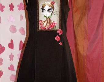 Black dress with straight neckline - Woman with roses