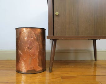 Vintage Copper Metal Trash Can // Retro Signed Hound Dog Pattern Waste Basket Bathroom Office Organization Mid Century Modern Contemporary