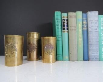 Vintage Brass Tumblers Set // Hollywood Regency Glam Cups Set Vases Planters Barware Decor Mid Century Modern Shiny Gold Metal Set of Four