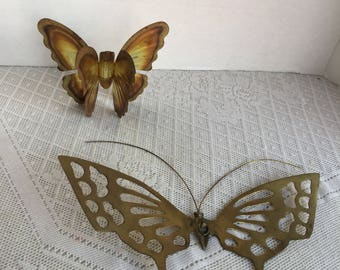 Vintage Butterfly Wall Hangings / Punched Brass Butterflies / Vintage Home Decor