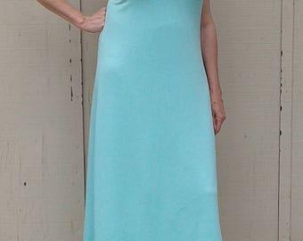 Womens dress, summer dress, pale aqua drest, sleeveless dress, bamboo cotton, sun dress, comfortable, travel wear, curve friendly,  handmade