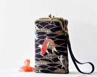 Wristlet phone case two compartment, Koi Japanese fabric, Eyeglasses case,