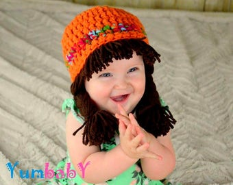 Cabbage Patch Wig Halloween Costume for Kids Hippie Clothes toddler Hat