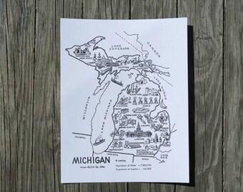 Michigan Poster / Michigan Print / Michigan Map Nursery Print / State Wall Art / 1950s Travel Map Decor / Vintage Map Michigan Decor