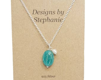 Amazonite and Freshwater Pearl Pendant and Chain 925 Sterling Silver Necklace - Designs by Stephanie