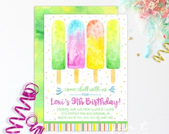 Popsicle Invitations - Popsicle Party / Watercolor Popsicle / Summer Party Invites / Birthday Invitations
