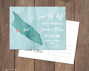 Save the Date Postcard, Save Our Date Postcard, Destination Wedding, Aruba Custom Map Save the Date Postcard, Watercolor Postcard