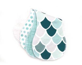 Burp Cloths Caribbean Mermaid Set of Three. Ready to Ship. Baby Gift. Baby Shower Gift. Burp Cloth. Burp Rag. Baby Essentials.