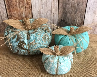 3x aqua stuffed fabric pumpkins, fall decoration, thanksgiving table decor or Halloween decor.