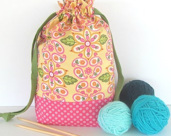 Drawstring Knitting Bag, Project Bag, Yarn Storage in Pink Yellow Flowers, Gift for Knitter, Yarn Bag or Bowl