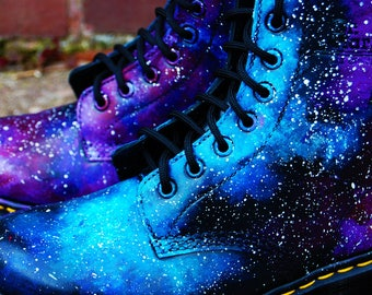 Newborn (Sizes UK Children's 0 - 3) Hand Painted Galaxy Nebula Space Print Dr Marten Boots, Customisable, Made To Order