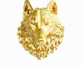 GOLD, Large Faux Taxidermy,  Large Wolf Head, Wolf Wall Decor, Faux Animal Head Wall Mount, Faux Taxidermy, Faux Taxidermy Wolf, Gold Animal