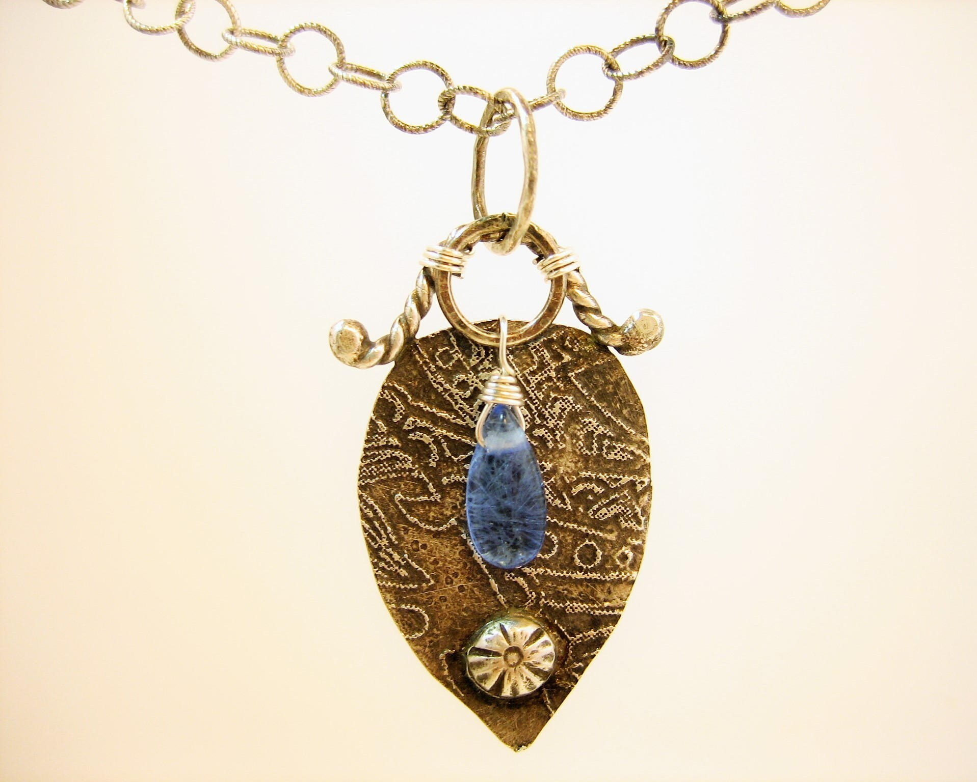 Blue quartz and oxidized silver lace patterned pendant, Artisan made etched pendant, black and blue gemstone necklace, drop pendant necklace