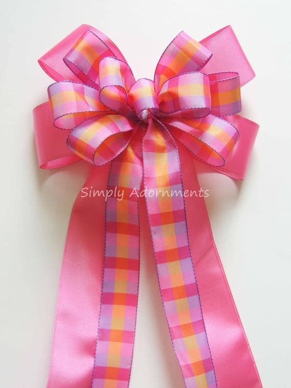 Purple Pink Easter Wreath bow Lavender Pink plaid Baby Shower Party Decor Pink Purple Birthday Girl Party Decor Purple pink Gift Basket Bow