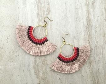 Taupe Tassel Hoop Earrings, Tassle Fringe Hoops, Large Tassel Fan Earrings,Beige Tassels, Gold Hoop Earrings, Lightweight