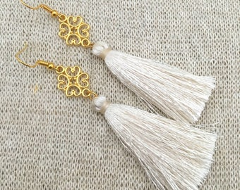 "Vienna Tassel Chandelier Earrings, Cream Tassel Filigree Gold Drop Earrings, Gold Filled Ear Wires, Gold Plate Filigree, 2"" Cream Tassel"