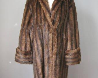Full Length Mink Coat / Vtg 50s / Brown Stripes Deep Cuffs Swing Style Mink Coat