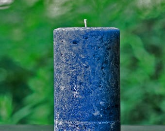 """Navy Blue Rustic Unscented 4"""" Wide Pillar Candle - Choose 4"""", 6"""" or 9"""" Tall"""