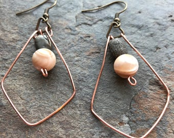 Gold Mother of Pearl Dangle Hoop Earrings