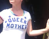 Vintage 1980s Queen Mother Shirt With Rainbow Trim 1980s Size Small