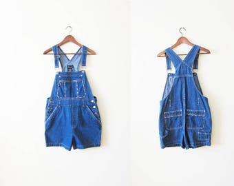 Shortalls / 90s Overall Shorts / Overalls Shorts / Denim Short Overalls / Jean Overalls / Shortalls Small / 90s Clothing
