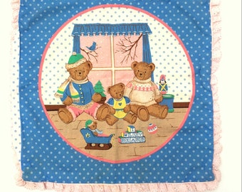 Vintage TEDDY BEAR Family Throw Pillowcase / Mom Dad Baby Bears / Reversible Pillow Case