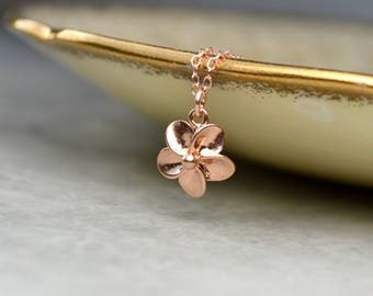 Rose Gold Flower Necklace, Flower Pendant Necklace, Dainty Rose Gold Necklace, Rose Gold Bridal Jewelry, Mothers Day Gift for Her, Wife Gift