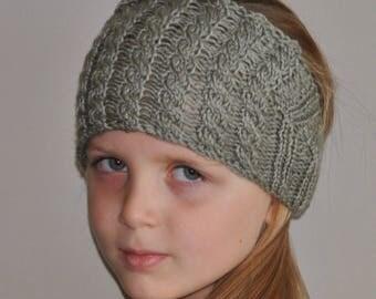 Little Girl Button Ear Warmer - Hand Knit Child Headband - Gray Headband - Winter Ear Warmer for Kids - Child Snow Gear - Girl Gift