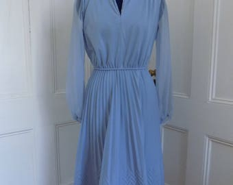 Vintage Powder Blue Pleated Dress