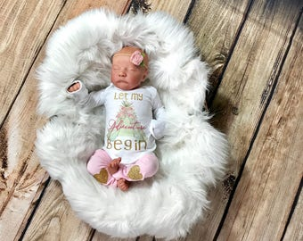 Newborn Girl Outfit, Baby Girl Clothes Boho, Baby Girl Coming Home Outfit, Newborn Girl Gift, Take Home Outfit Girl, Let My Adventure Begin