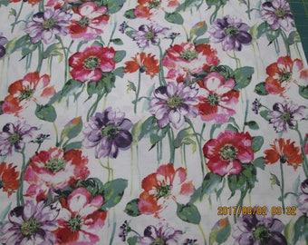 FLOWERS  MULTI COLORS on White Backround   pattern  1 Yard - 100% Cotton Very cute fabric,by Stella Fabrics
