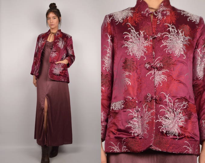 70's Satin Asian Embroidered Jacket